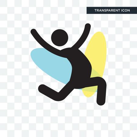 Icône de vecteur de danseur de saut isolé sur fond transparent, concept logo Jumping Dancer