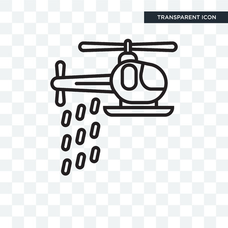 Helicopter vector icon isolated on transparent background, Helicopter logo concept