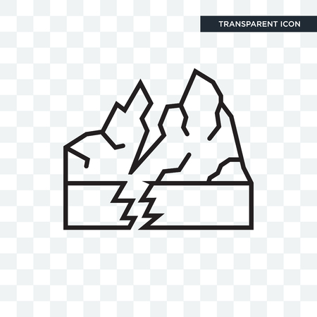 Earthquake vector icon isolated on transparent background, Earthquake logo concept Vettoriali