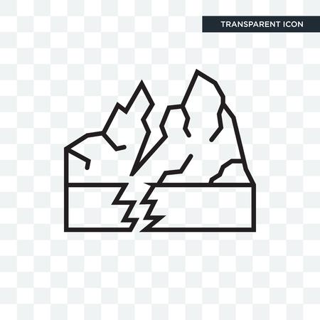 Icona di vettore di terremoto isolato su sfondo trasparente, concetto di marchio di terremoto Vettoriali