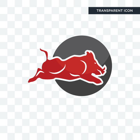 wild hog vector icon isolated on transparent background, wild hog logo concept
