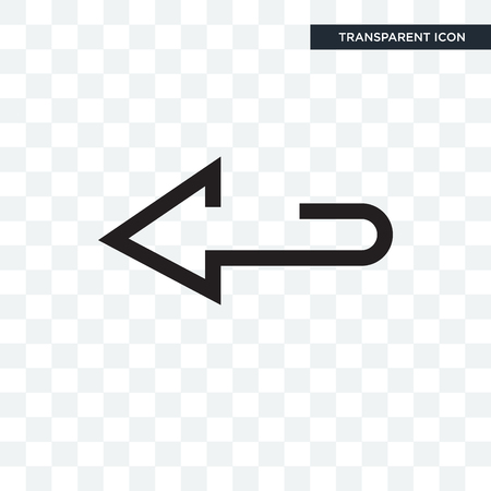 Left arrow vector icon isolated on transparent background, Left arrow logo concept Illustration