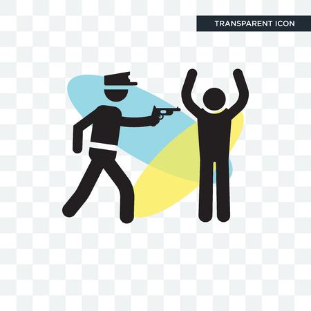 Icône de vecteur de police arrestation homme isolé sur fond transparent, concept de logo Police arrestation homme Logo