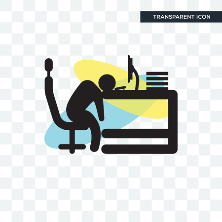 Sleepy Worker at Work vector icon isolated on transparent background, Sleepy Worker at Work logo concept