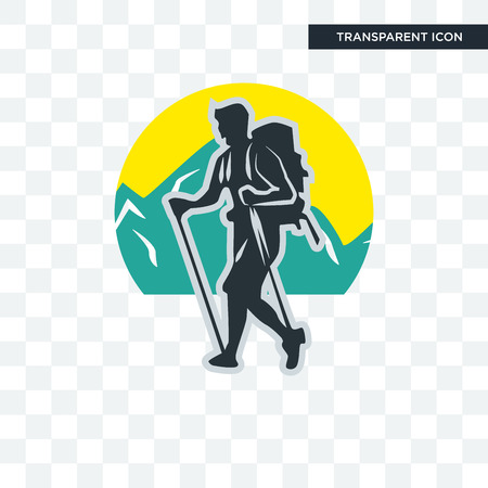 trekking vector icon isolated on transparent background, trekking logo concept
