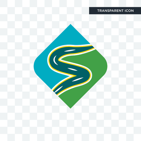 winding road vector icon isolated on transparent background, winding road logo concept 矢量图像