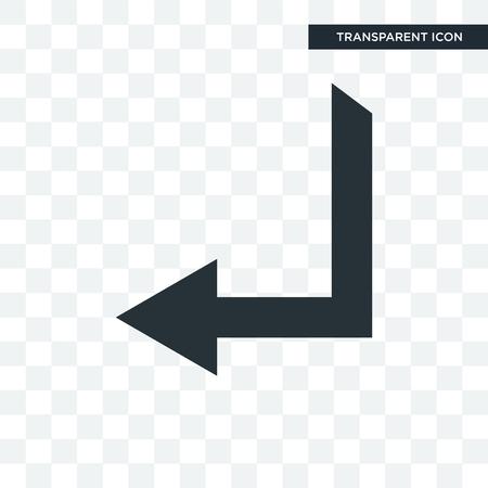 Left arrow vector icon isolated on transparent background, Left arrow logo concept Çizim