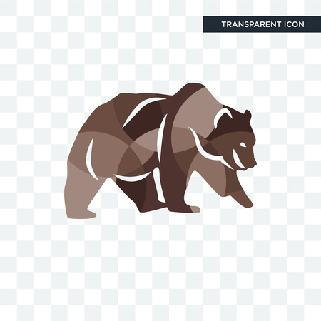 grizzly bear vector icon isolated on transparent background, grizzly bear logo concept