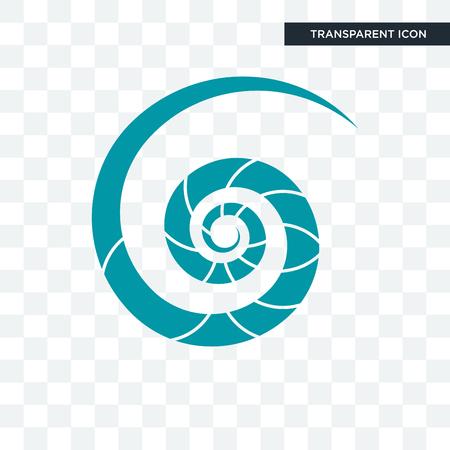 Icône de vecteur de coquille de nautile isolé sur fond transparent, concept de logo de coquille de nautile