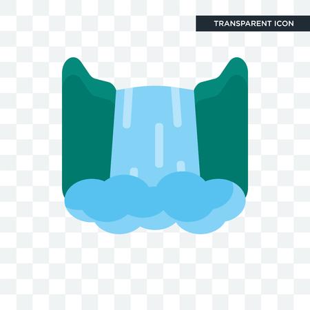 Icono de vector de cascada aislado sobre fondo transparente, concepto de logo de cascada