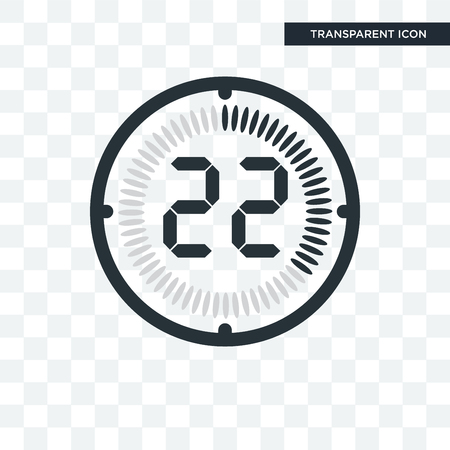 El icono de vector de 22 minutos aislado sobre fondo transparente, el concepto de logo de 22 minutos