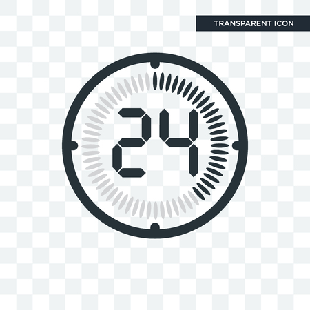 The 24 minutes vector icon isolated on transparent background, The 24 minutes logo concept Illustration