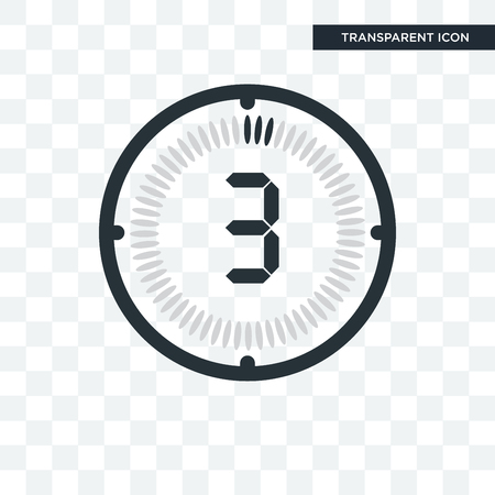 The 3 minutes vector icon isolated on transparent background, The 3 minutes logo concept Illustration