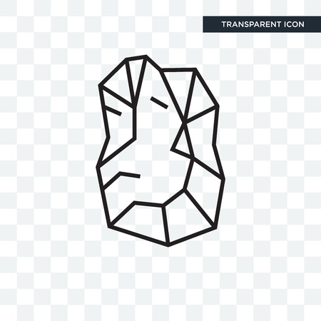 Icona di vettore di pietra isolato su sfondo trasparente, concetto di marchio di pietra Vettoriali