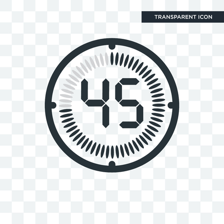 The 45 minutes vector icon isolated on transparent background, The 45 minutes logo concept
