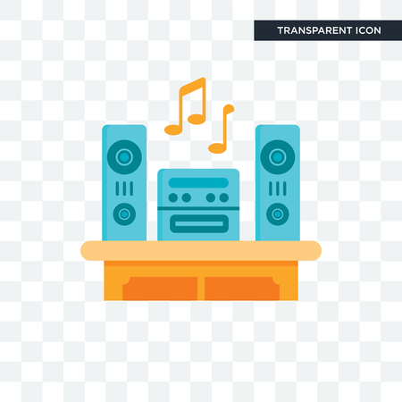 Music player vector icon isolated on transparent background, Music player logo concept