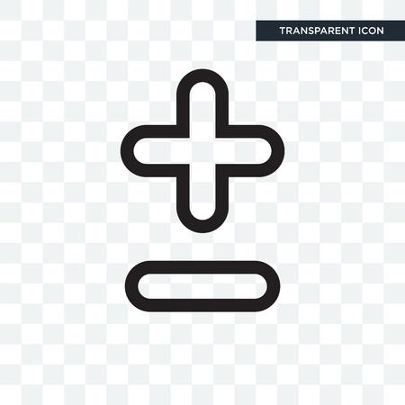 Plus moins d'icône de vecteur isolé sur fond transparent, plus moins de concept de logo