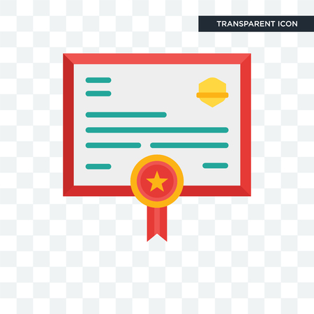 Diploma vector icon isolated on transparent background, Diploma logo concept