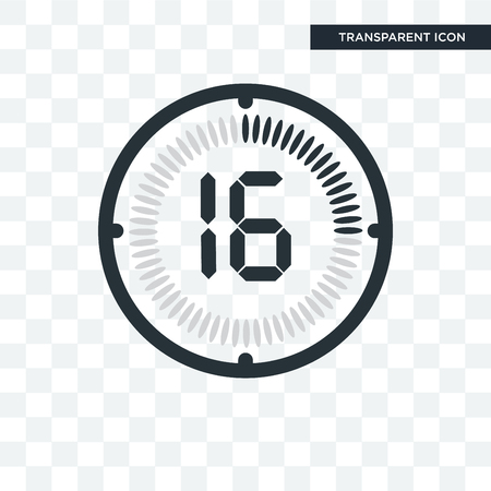The 16 minutes vector icon isolated on transparent background, The 16 minutes logo concept Illustration