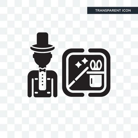 Icono de vector de mago aislado sobre fondo transparente, concepto de logo de mago Logos