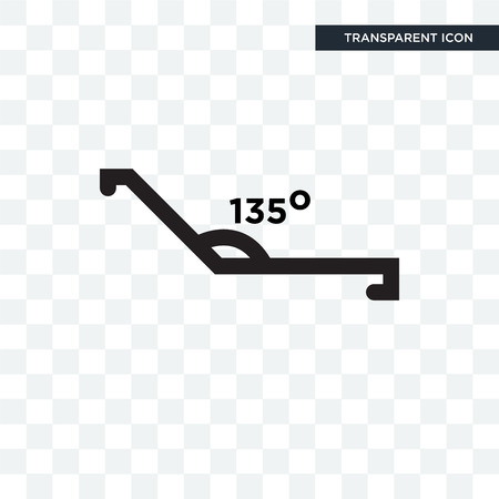 Obtuse angle of 135 degrees vector icon isolated on transparent background, Obtuse angle of 135 degrees logo concept