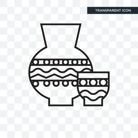 Icona di vettore di ceramiche isolato su sfondo trasparente, concetto di marchio di ceramiche Vettoriali