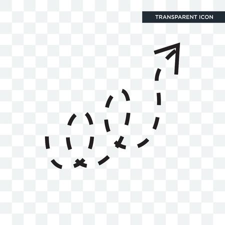 Icono de vector de flecha punteada rizado aislado sobre fondo transparente, concepto de logo de flecha punteada rizado Logos
