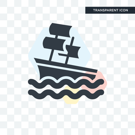 Sailboat vector icon isolated on transparent background, Sailboat logo concept