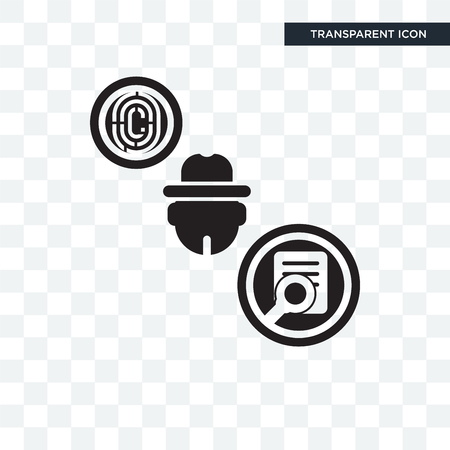 Detective vector icon isolated on transparent background, Detective logo concept