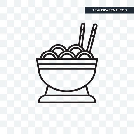 Noodles vector icon isolated on transparent background, Noodles logo concept