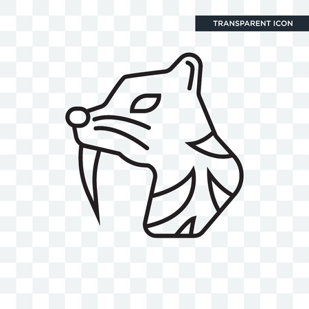 Saber toothed tiger vector icon isolated on transparent background Illustration