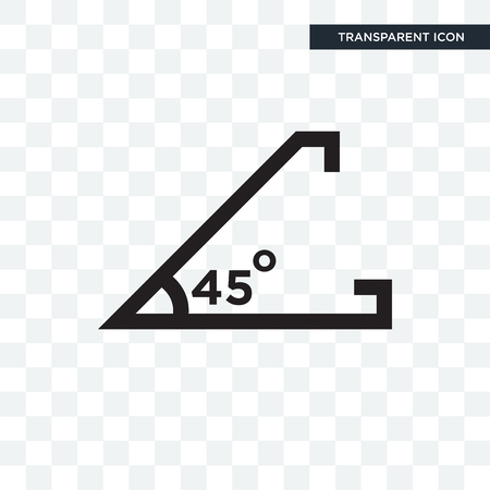Acute angle of 45 degrees vector icon isolated on transparent background, Acute angle of 45 degrees logo concept Ilustração