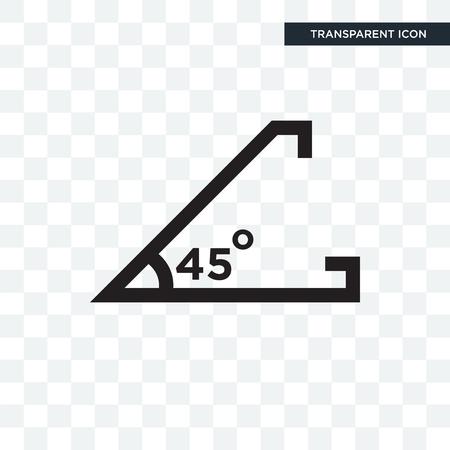 Angolo acuto di 45 gradi icona vettore isolato su sfondo trasparente, angolo acuto di 45 gradi concetto del logo Logo