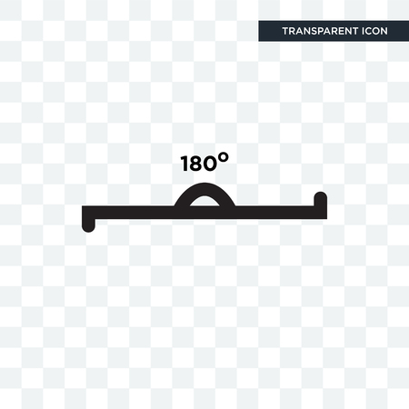 180 degrees angle vector icon isolated on transparent background, 180 degrees angle logo concept
