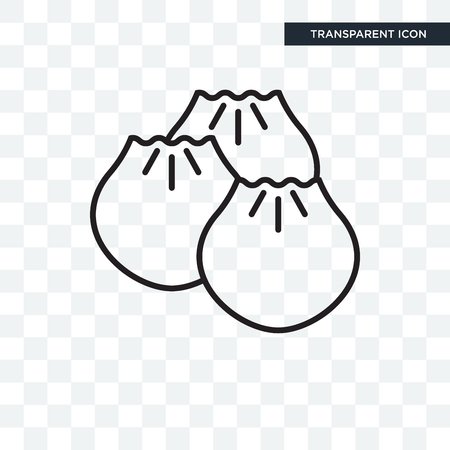 Dumpling vector icon isolated on transparent background, Dumpling logo concept Vectores