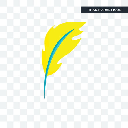 Feather vector icon isolated on transparent background, Feather logo concept