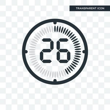 El icono de vector de 26 minutos aislado sobre fondo transparente, el concepto de logo de 26 minutos