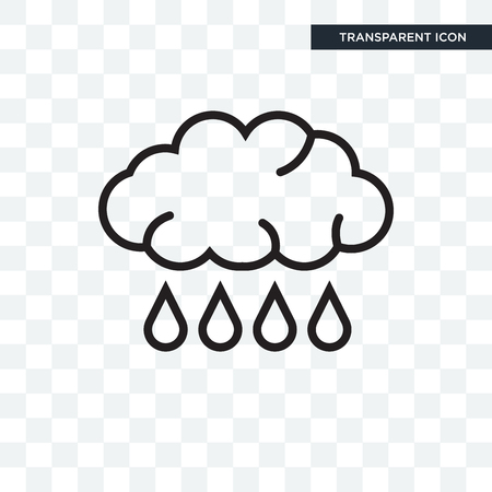 Rain vector icon isolated on transparent background  イラスト・ベクター素材