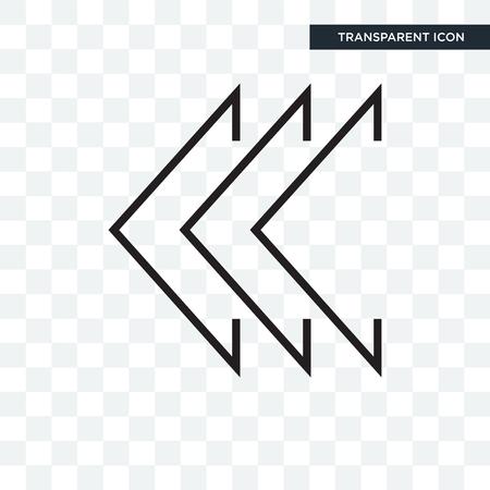 Left chevron vector icon isolated on transparent background, Left chevron logo concept