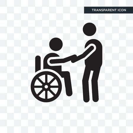 Icona di vettore di sedia a rotelle isolato su sfondo trasparente, concetto di marchio di sedia a rotelle