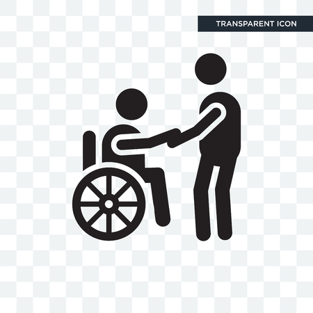 Wheelchair vector icon isolated on transparent background, Wheelchair logo concept