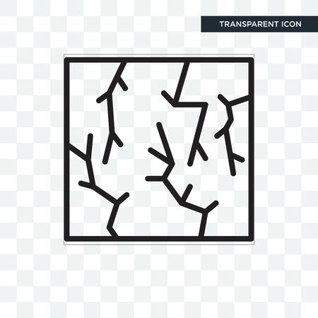 Icona di vettore di crack isolato su sfondo trasparente, concetto di logo di crack