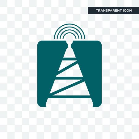 icône de vecteur de tour de cellule isolé sur fond transparent, concept de logo de tour de cellule
