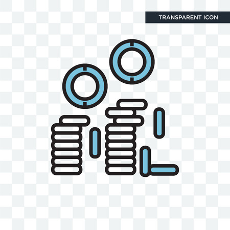 Coins vector icon isolated on transparent background, Coins logo concept