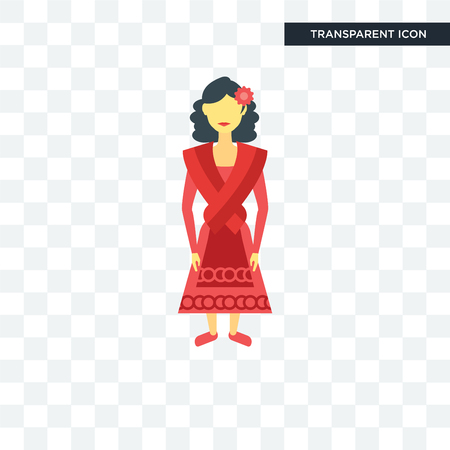 Spanish woman vector icon isolated on transparent background, Spanish woman logo concept