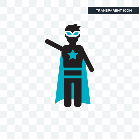 Super hero vector icon isolated on transparent background, Super hero logo concept Illustration