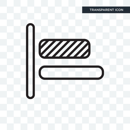 Left alignment vector icon isolated on transparent background, Left alignment logo concept Vectores