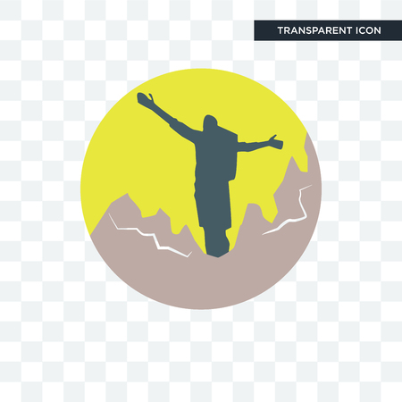 hiker vector icon isolated on transparent background Illustration