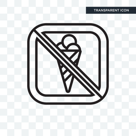 No ice cream vector icon isolated on transparent background, No ice cream logo concept