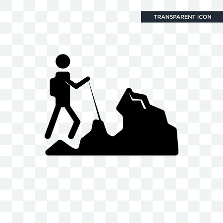 hiker vector icon isolated on transparent background, hiker logo concept